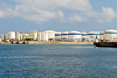 Lng tanks at the port of barcelona Stock Photos