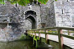 beaumaris castle in anglesey, wales, uk - stock photo