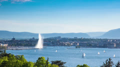 Timelapse of the Geneva water fountain in switzerland - Jet d'eau de Geneve Stock Footage