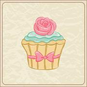 cupcake card - stock illustration
