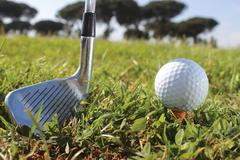 golf putter and ball - stock photo