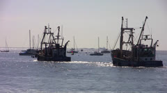 Leigh On Sea Fishing Trawler Long Shot 3 Stock Footage