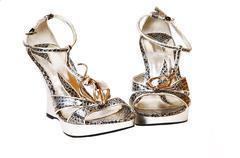 Silver high heels. Stock Photos