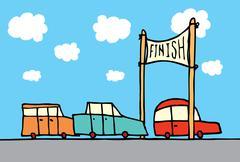 car race finish - stock illustration