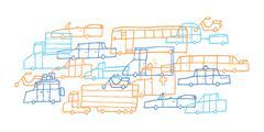 Cartoon car jam / tough traffic Stock Illustration