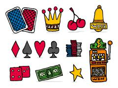 Casino icon set / chance betting games objects Stock Illustration