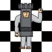 human chess tower - stock illustration