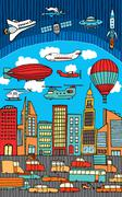 busy city / metropolis - stock illustration