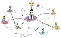 Stock Illustration of creative thinking teamwork / idea process or brainstorming