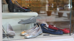 Shoes store in Europe Stock Footage