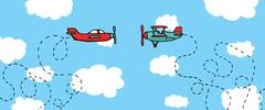 aerial dogfight / cartoon planes in battle - stock illustration