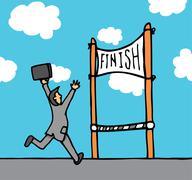 Businessman reaching goal Stock Illustration