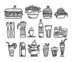Food and drinks / restaurant stuff Stock Illustration