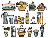 Food and drinks / color restaurant stuff Stock Illustration