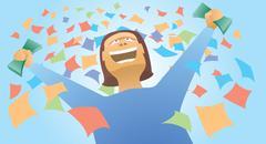 happy winner holding money - stock illustration