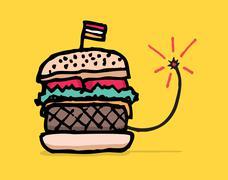 unhealthy fast food / bomb hamburger - stock illustration
