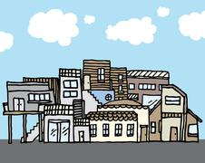 Many houses / tight community Stock Illustration
