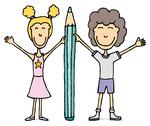 Kids vector drawing / boy and girl holding big pencil. Stock Illustration