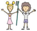 Kids with huge tooth brush / dental hygiene Stock Illustration