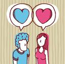 Couple in love / two hearts Stock Illustration