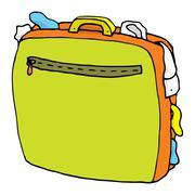 Cartoon suitcase full / overweight luggage Stock Illustration
