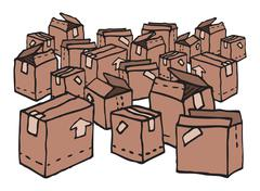 Lots of boxes / messy stock Stock Illustration