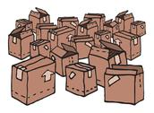 Stock Illustration of lots of boxes / messy stock
