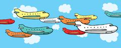 Many planes flying together Stock Illustration