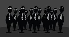 Mystery agents / bizarre group of businessmen Stock Illustration