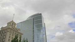 White Clouds over Buildings in Portland Oregon on a Breezy Day Time Lapse Stock Footage