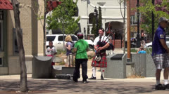 Peace Park bagpiper on State Street - Madison, WI Stock Footage