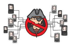 Piracy network banned / sopa and pipa law Stock Illustration