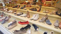 Elegant shoes on store display - stock footage