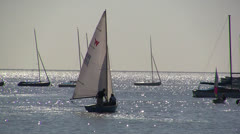 Leigh On Sea Sail Boats 1 Stock Footage