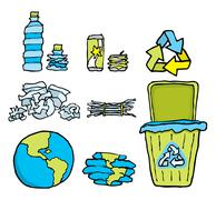 environmental conservation / recycling set - stock illustration