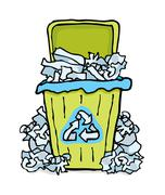 recycling trash / paper bin - stock illustration