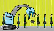Crane removing businessman / layoff Stock Illustration