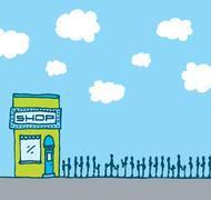 successful shop with long queue - stock illustration