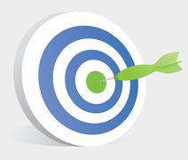 dart hitting center of a target / bullseye - stock illustration