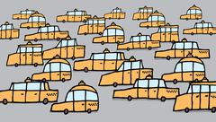 Big group of cartoon taxis / vector traffic jam Stock Illustration