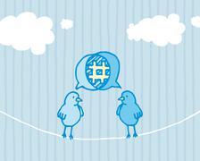 Birds sharing and tweeting / social media dialog Stock Illustration