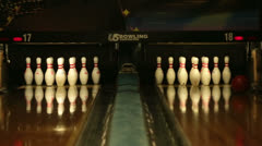 Bowling Alley family fun recreation two lanes HD 6677 Stock Footage