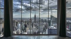 New York City View from Manhattan Apartment Window Empire State Day to Night Stock Footage