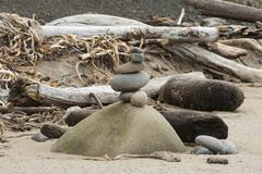 Stock Photo of Stack of balanced rocks on remote California beach