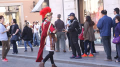 Roman soldier and tourists Stock Footage
