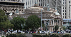 Ultra HD 4K Las Vegas Strip, Eiffel Tower, Paris Hotel Casino, Bellagio Fountain Stock Footage