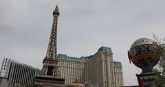 Ultra HD 4K Las Vegas Strip, Eiffel Tower, Paris Hotel Casino, Bellagio Fountain Stock Footage