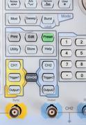 keyboard of professional modern test equipment - analyzer - stock photo