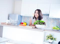 woman relax in kitchen - stock photo