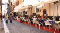 Street restaurant in Rome, Italy Stock Footage